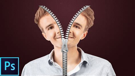 zipper pattern photoshop photoshop tutorial zipper face cut split by uzair editz