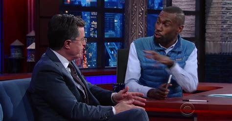 Mckesson Background Check Stephen Colbert Checks His White Privilege Switches Seats With Deray Mckesson To
