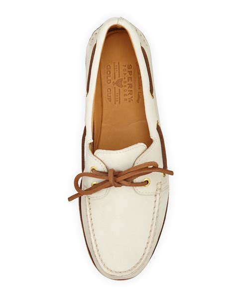Original Bnwb Sperry Top Sider Goldcup Colored 2 Eye Tanlime sperry top sider gold cup authentic original boat shoe in white lyst