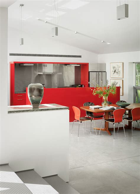house of elliott interior design catchy red cabinet design applied in stylish kicthen deisgn of house