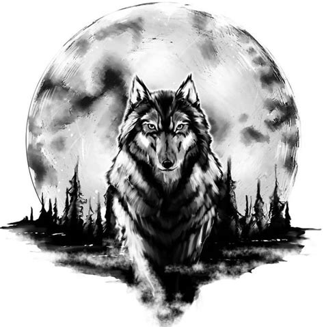 wolf moon tattoo 50 amazing wolf designs golfian