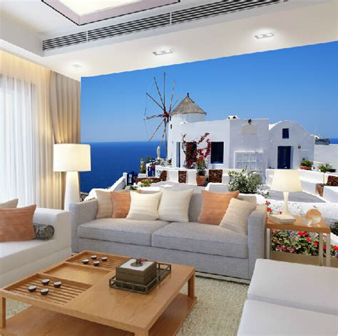 the athenian room mediterranean style wallpaper mural of the living room sofa tv backdrop of the aegean sea