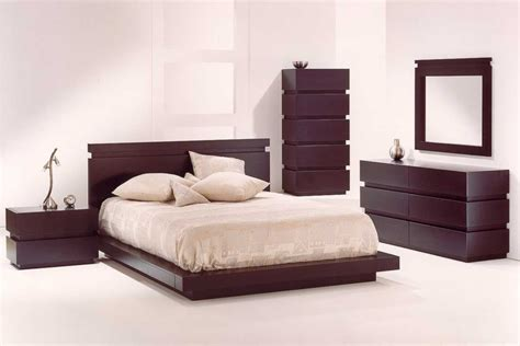 simple modern bedroom design with wooden furniture