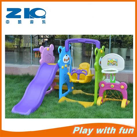 plastic slide and swing set 2016 kids colorful plastic slide and swing with basketball