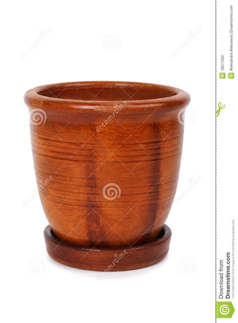 Brown Clay clay brown flowerpot with stripes stock photography