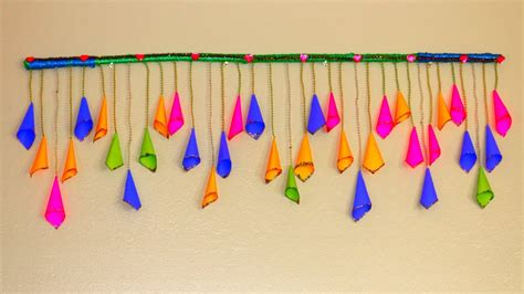 How To Make Paper Toran - diy easy handmade door hanging toran paper cone