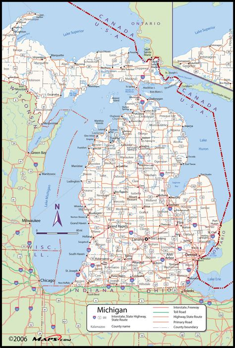 printable road maps of michigan michigan county wall map maps com