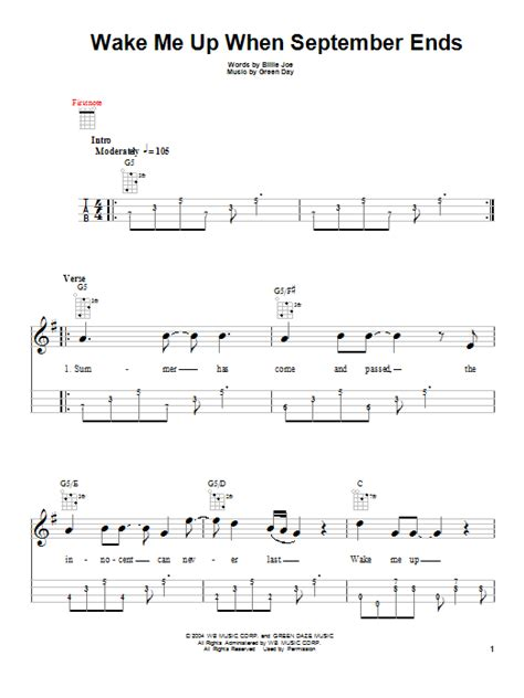 tutorial guitar wake me up wake me up when september ends sheet music direct