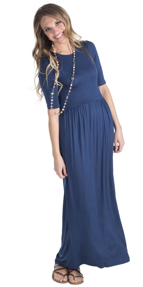 JenClothing Half Sleeve Modest Maxi Dress in Navy Blue