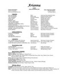 Theater Resume Exles by Musical Theatre Resume Getessay Biz