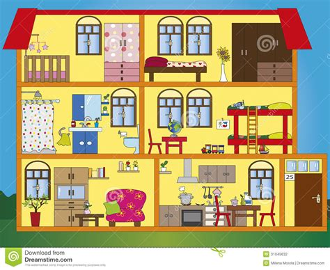 my home interior different rooms in a house clipart 55