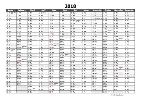Editable 2018 Yearly Excel Scheduling Calendar Free Printable Templates 2018 Yearly Calendar Template Excel