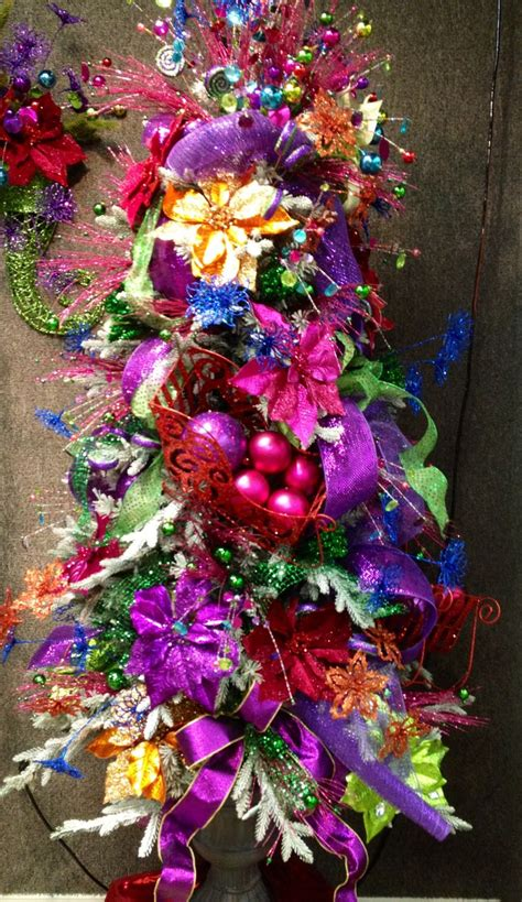 pink purple and green christmas tree decorations