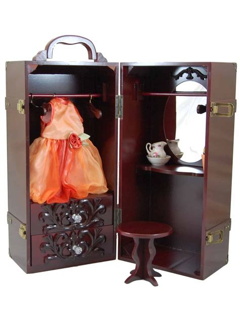 18 doll storage mahogany wooden doll clothes storage trunk with vanity