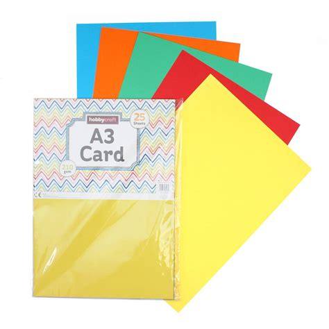 hobby craft card bright coloured card a3 25 pack hobbycraft