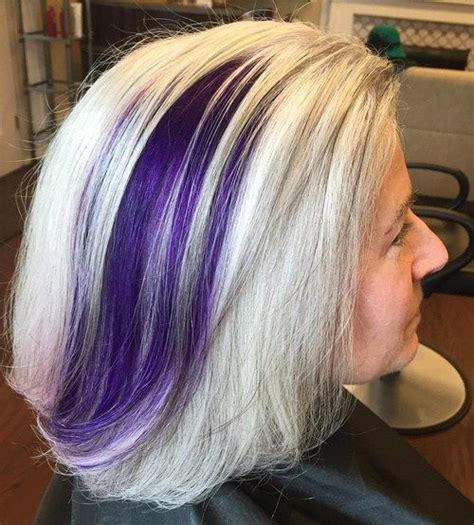 balayage highlights for older women 60 gorgeous gray hair styles purple balayage ash blonde