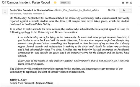 False Reports On by False Reports We Deserve An Apology Fordham Observer