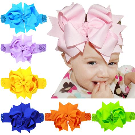 7 9 inch baby infant lace headband hair bows baby s big hair bow elastic hair band gift newborn