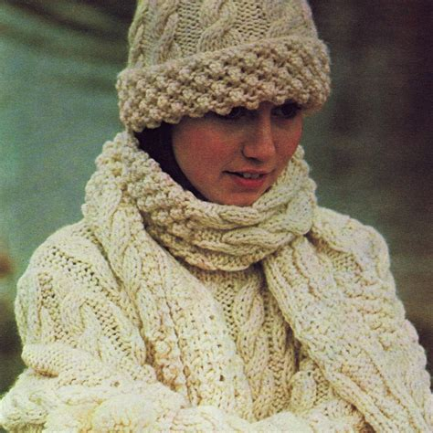 knitting pattern hat scarf gloves free aran stitch patterns vintage knitting pattern pdf