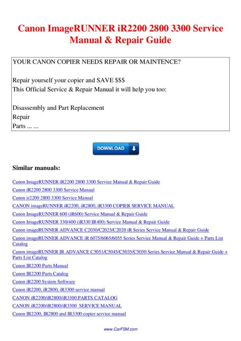 service canon canon imagerunner ir2200 2800 3300 service manual repair