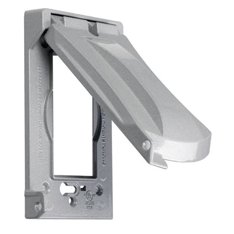 Outdoor Light Switch Cover Greenfield While In Use Weatherproof Electrical Box Cover Vertical Gray Wiuvps The Home Depot