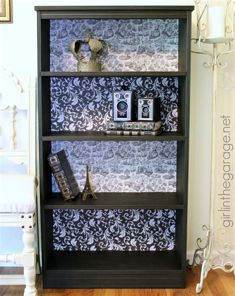 Decoupage Bookshelf - diy decoupage bookcase in the garage
