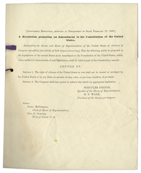 15th Amendment Section 2 by Lot Detail William H Seward Signed Resolution Bringing