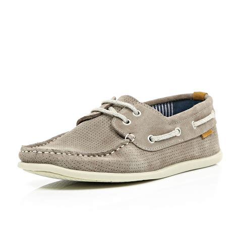 river island shoes river island grey perforated suede boat shoes in