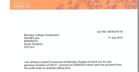 Thank You Note For Hospice Donation Construction At Barnsley College Thank You Letter From Barnsley College