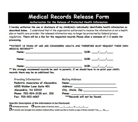 release for records form 11 records release forms sles exles