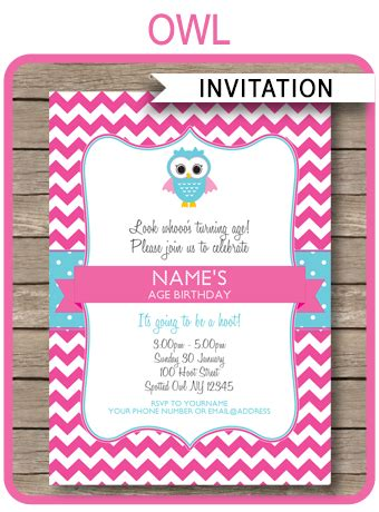 printable owl invitation template owl party invitations pink birthday party template