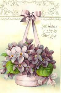 birthday postcard violets graphics flowers happy hanging baskets and