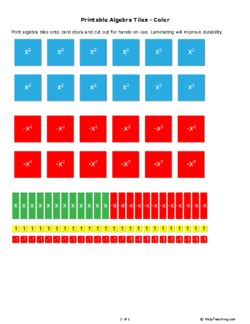 printable algebra tiles color grade 6 free printable