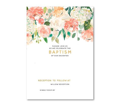 baptism invitations templates free free template free floral baptism invitation template