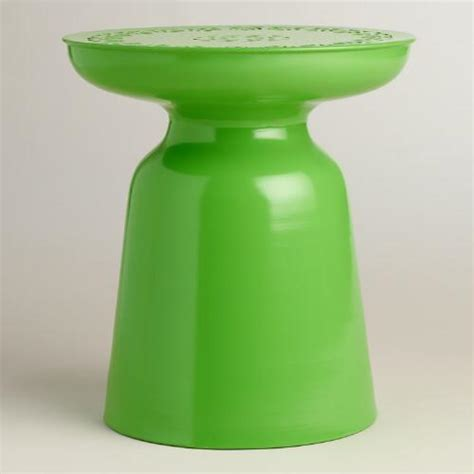 cheap outdoor drum stool green punched metal dimitri drum stool world market