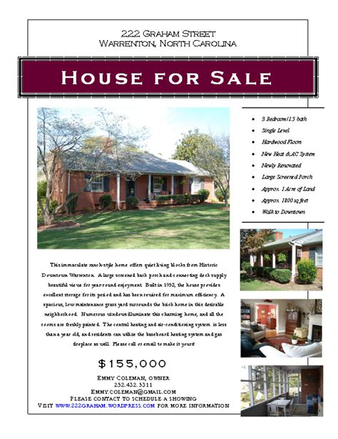Home Sale Flyer Template by Doc 500310 Home For Sale Template Real Estate