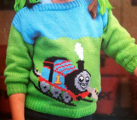 knit train sweater pattern thomas the tank engine knitting pattern childs jumper by