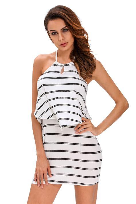 Mini Dress Bordir Rufle Stripe layered ruffle striped halter mini dress backless stage wear neck ebay