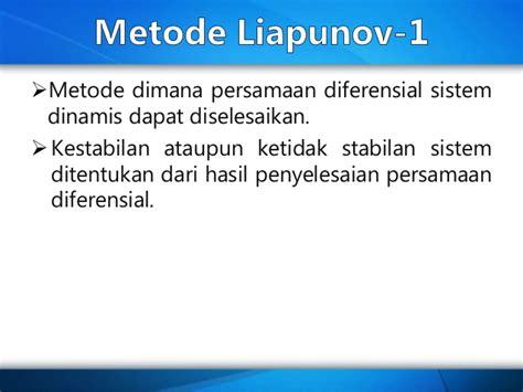 Hukum Konsep Dan Metode Soetandyo Wignjosoebroto konsep kestabilan sistem non linear dan metode lyapunov