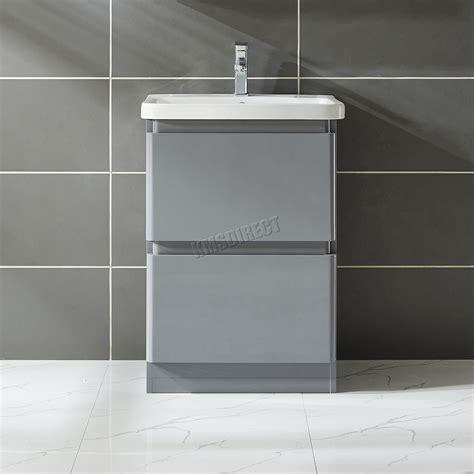Mdf Bathroom Vanity Foxhunter Vanity Unit Mdf High Gloss 2 Drawers Basin Bathroom Cabinet Storage Ebay