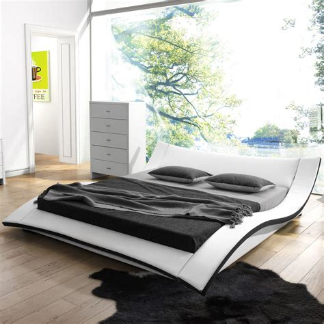 cool platform beds modern upholstered queen platform bed white and black