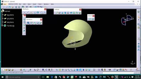 helmet design catia helmet surface model on catia v5 youtube