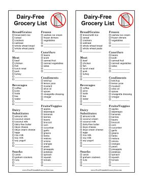 printable grocery list with meals printable dairy free grocery list