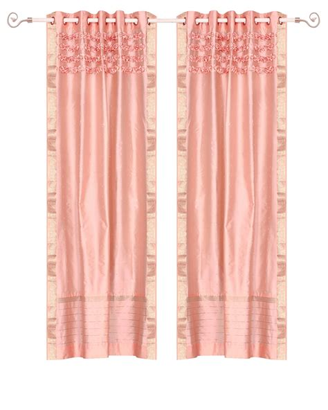 peach pink curtains peach pink hand crafted grommet top sheer sari curtain