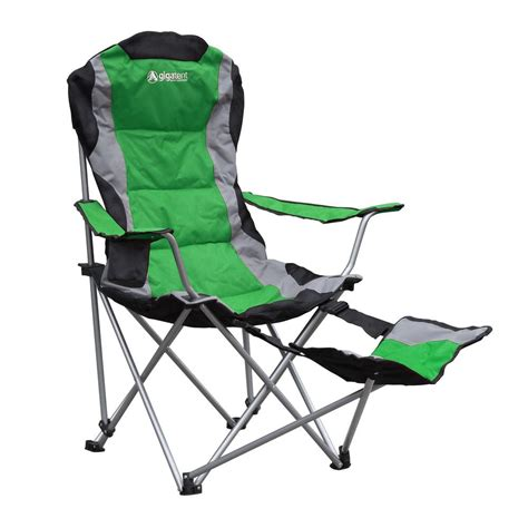 reclining folding chair with footrest gigatent padded cing chair with footrest cc003 the