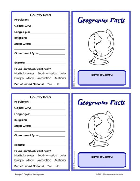 fact card template country geography facts learning card template that