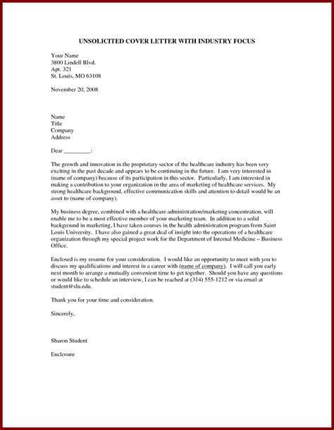 Sample Cover Letter Unsolicited Application   Cover Letter