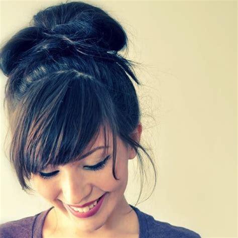side bangs with bun bun with side bangs