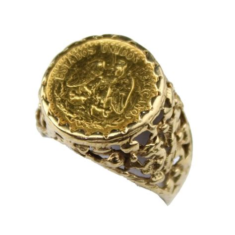 mexican 22ct gold dos pesos eagle and snake coin ring 1945