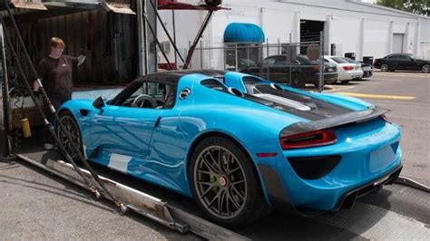porsche riviera blue riviera blue porsche 918 weissach delivered in u s